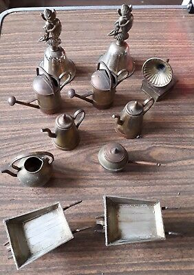 Job Lot Brass Copper  Ornaments Vintage Antique Bell Jug Wheelbarrow Gramaphone