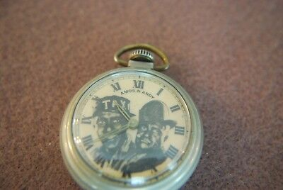 Amos N Andy 1930's Pocket Watch Made In Usa Running Condition~Probably Westclox