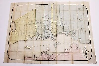1875 New Bedford Massachusetts Map Wheeler Coggeshall HIGE EXRARE WALL MAP