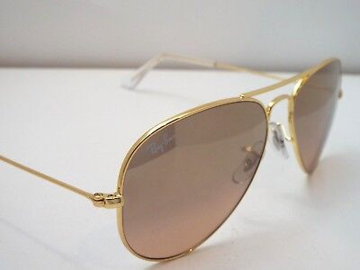 0c48aa33092 Authentic Ray-Ban RB 3025 001 3E Gold Silver Pink Mirror S Pilot Sunglasses