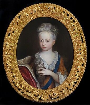Fine 17th Century French Portrait Pretty Lady Girl Antique Oil Painting Old