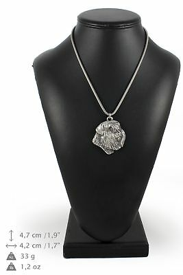 Bouvier des Flandres - silver plated necklace on silver cord, Art Dog USA