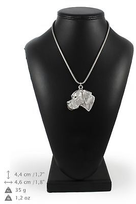 Pointer - silver plated necklace on silver cord, Art Dog USA