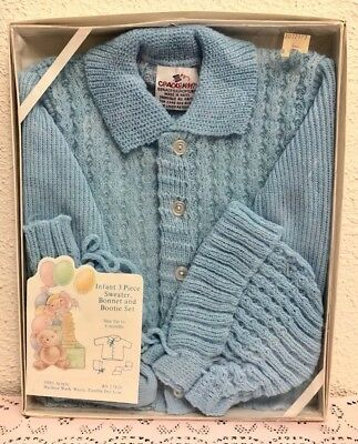 Vintage CRADLEKNIT  Infant Blue 3 Piece Sweater, Bonnet & Bootie Set, 0-6m - NOS