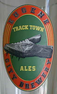TRACK TOWN ALES Souvenir Beer Glass EUGENE CITY BREWERY