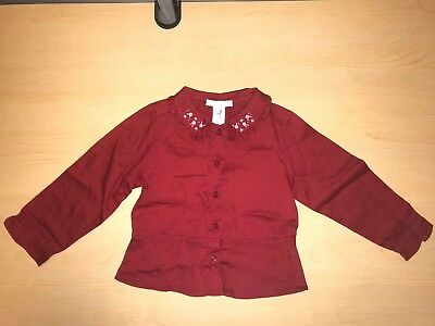 Janie And Jack Boho Blouse Toddler Girls 2T Red With Rose Bud Embellishment