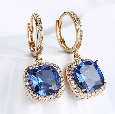 18K White Gold Plated made with blue SWAROVSKI Crystal Drop earrings