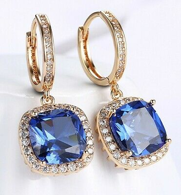 3.0 CT Sapphire Halo Cut Drop Earring Made with Swarovski Crystal 18K Gold ITALY