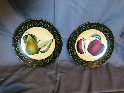 2 Homco Home Interiors Decorative Fruit Plates Pears and Apples 2001