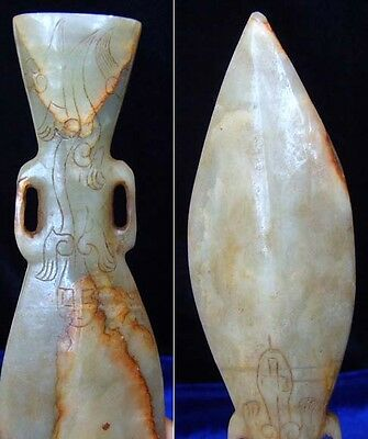 "Nephrite Jade Ceremonial Spear Head 7 1/4""."