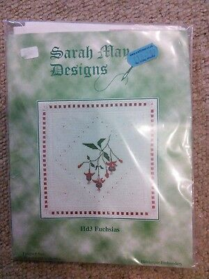Sarah May Designs Hardanger embroidery kit, Fucshias.