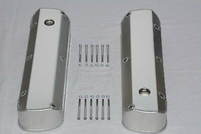 Ford 289 302 351W Fabricated Aluminum Tall Baffled Valve Covers w/ Holes SBF V8