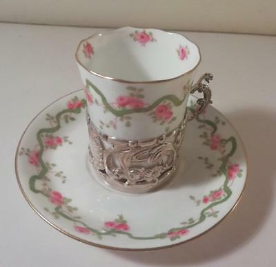 An Antique Crown Staffs Coffee Can w. Silver Holder and Saucer : Birmingham 1906