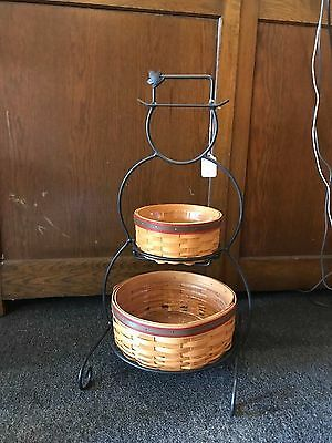 Longaberger Wrought Iron Snowman w/Frosty & Frosty Jr Baskets with Protector