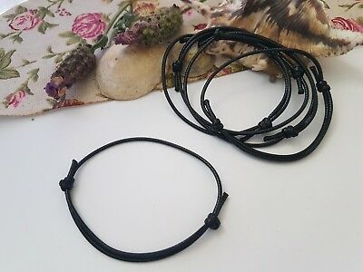 4x or 8x BLACK WAXED COTTON CORD ADJUSTABLE FRIENDSHIP BRACELETS,JEWELRY STRING