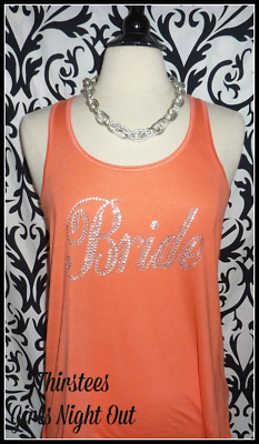 NEW size M misses bling coral bride tank top bachelorette tank top bride to be