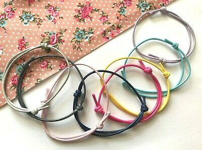 4x COLOURFUL MIXED WAXED COTTON CORD ADJUSTABLE FRIENDSHIP BRACELETS, STRING