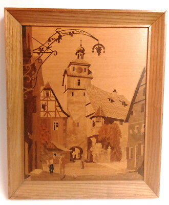 Wood Inlay ROTHENBURG WHITE TOWER Made in Germany Signed Buchschmid & Gretaux