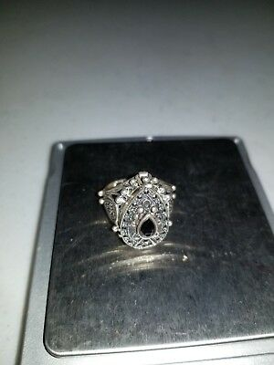 Sterling Silver Vintage 925 Poison/Snuff Marcasite Ring Sz 6.5 (10.5g) NICE