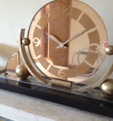 Huge SUPERB ICONIC FRENCH VINTAGE ART DECO / MODERNIST 8 DAY MANTLE CLOCK c1930