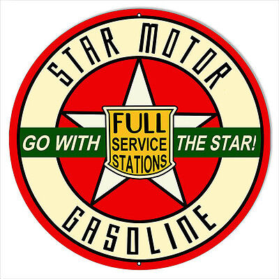 Large Go With Star Gasoline Motor Oil Sign 18 Round