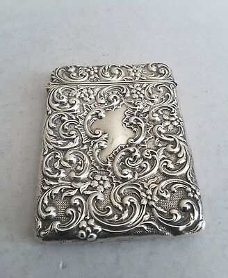 Pretty,  Embossed Antique Solid Silver Card Case.    10 × 7.4Cms.     Birm.1907.