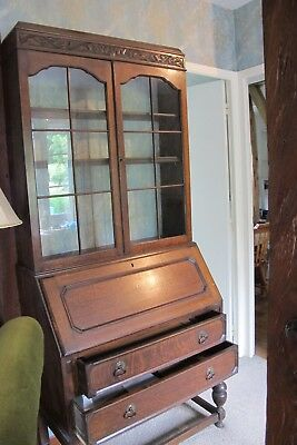Antique  Wooden Display Bureau with Bookcase & Writing Cabinet