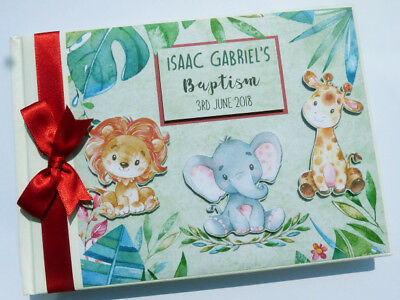 Personalised Watercolour Cute Africa Safari Themed Birthday Guest Book