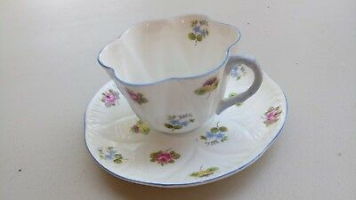 Shelley Fine Bone China Teacup/Saucer set Made in England Blue accent/Floral