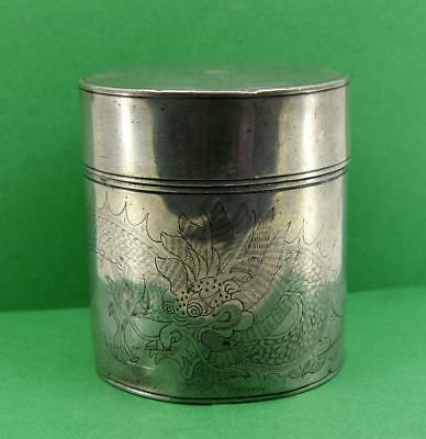 antique Chinese Pewter Tea Caddy Dragon Design Kut Hing Swatow 9 cm x 10 cm