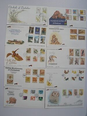 Zimbabwe First day covers x 8 in good cond, Orchids, CHOGM ,Wild fruits plus