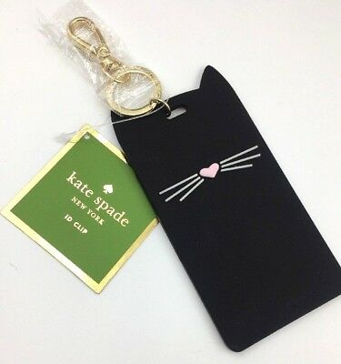 Kate Spade New York Why Hello There Id Clip Black Cat