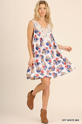 S M L UMGEE OFF WHITE Floral Print  Lace Neckline & Front Dress/Tunic SASSY SKY