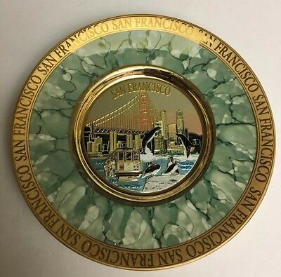 San Francisco 100% Authentic Decorative Collectible Plate  #2 24k Gold Japan New