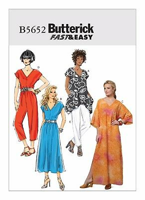 Butterick Sewing Pattern 5652 Misses 16-26 Easy Top Dress Caftan Pants Jumpsuit