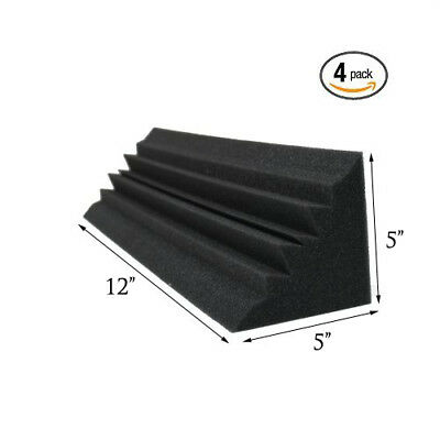 (4 PACK) 5 x 5 x 12 Inches Acoustic Wedge Studio Soundproofing Foam Bass Trap