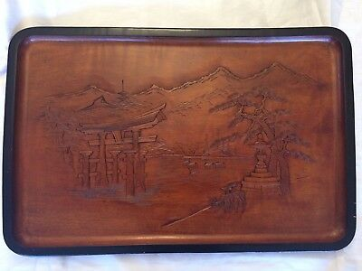 Stunning antique Vintage large hand carved signed Japanese Chinese wooden tray