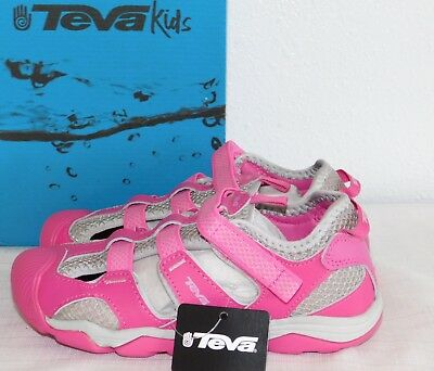 824d58a83c1e86 New Size 1 Teva Jansen Leather Pink Grey Sport Sandals Girls Youth Kids Nib