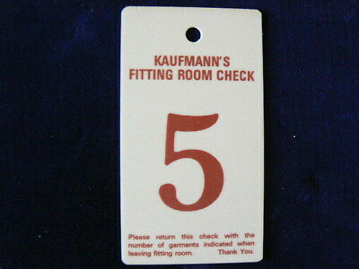 Kaufmanns Department Store Fitting Room Check Number 5  Pittsburgh, Pennsylvania
