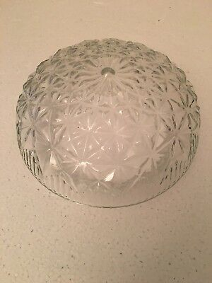 Vintage Mid Century Pressed Cut Clear Diamond Glass Lamp Light, Shade (Works)
