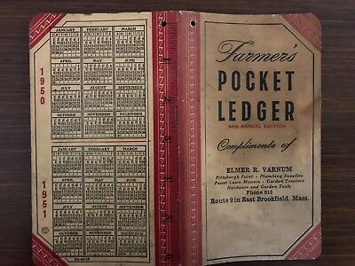 1950-51 John Deere Farmer's Pocket Ledger, Elmer R. Varnum, East Brookfield Mass
