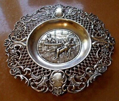 Antique 19Th Century Handmade Germany 800 Silver Repousse Bonbon Dish Or Plate