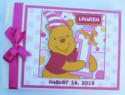 Personalised Disney Winnie The Pooh Girl's 1St Birthday Guest Book - Any Design