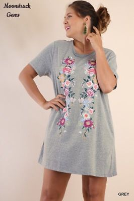 67bf7f7169a3 UMGEE Floral Embroidered Short Sleeve Tee Dress Tunic Plus Size XL 1X 2X