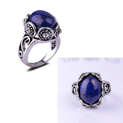 Thai Antique Silver Fashion Lady Lapis Lazuli Ring Finger Rings Jewelry