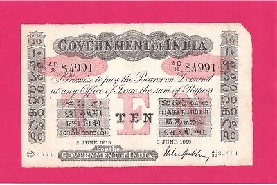 1919 Ten Rupees India In Xf Condition Note