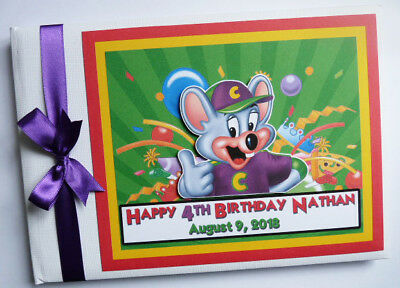 Personalised  Chuck E. Cheese Birthday Guest Book Sign In Book - Any Design