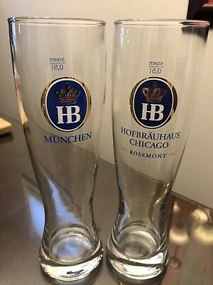 2 HB Hofbrauhaus  German Glass Beer Stein 0.5L