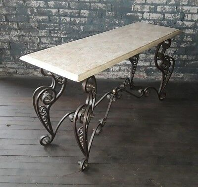 Vintage Maitland Smith Tessellated Stone & Iron Console Table