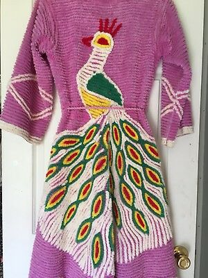 Fabulous Vintage 1940s 50s Pink Chenille Peacock Bathrobe Robe Bedspread Tufted